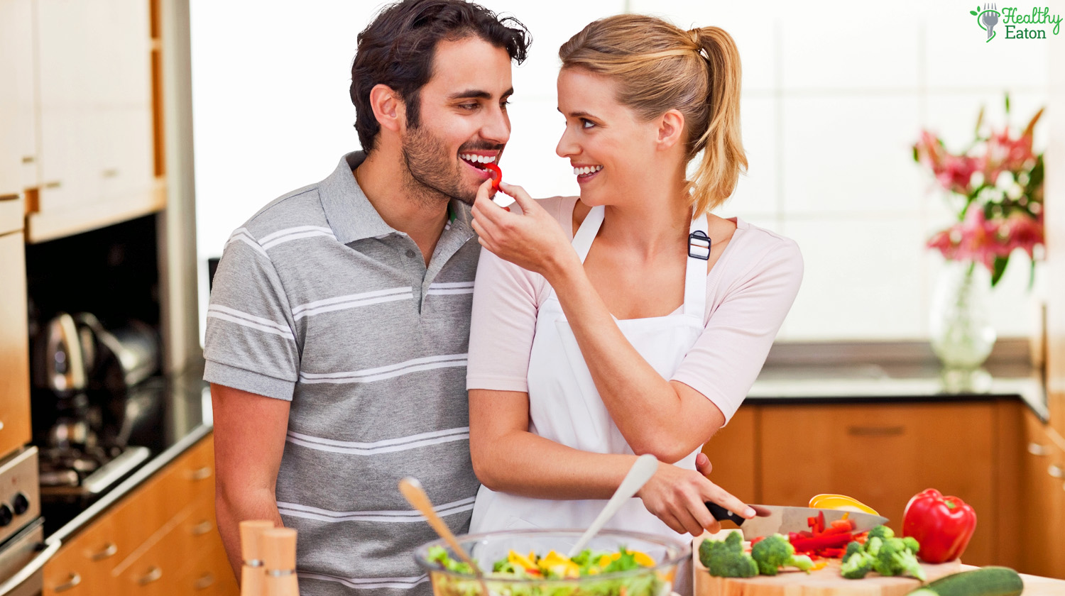 Happy Couple With Healthy Food