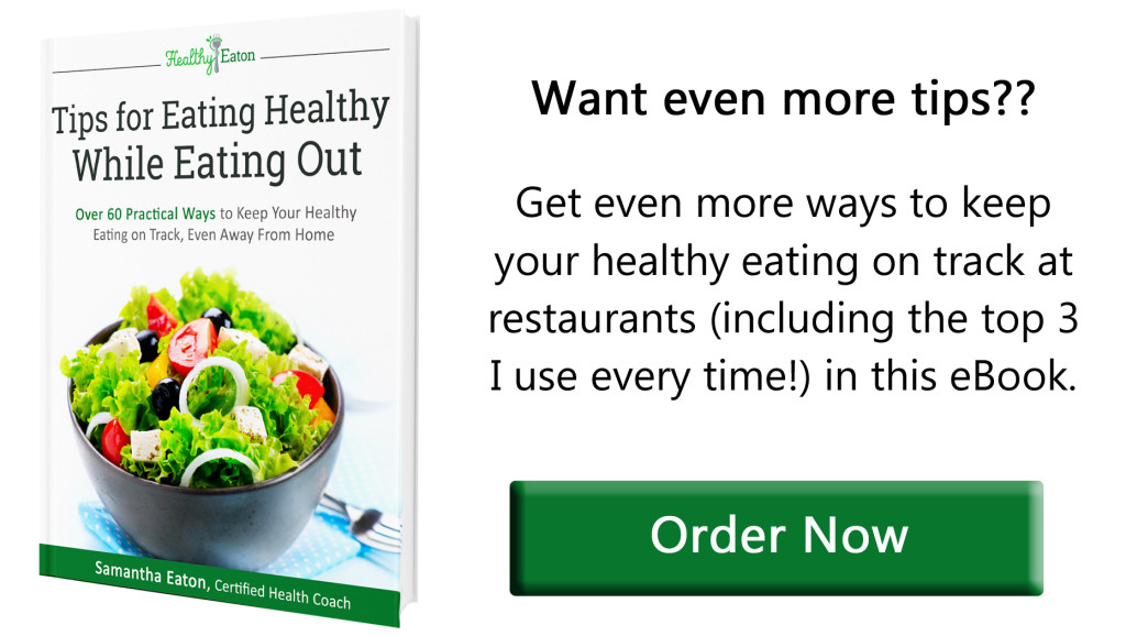 tips for eating healthy while eating out ebook ad