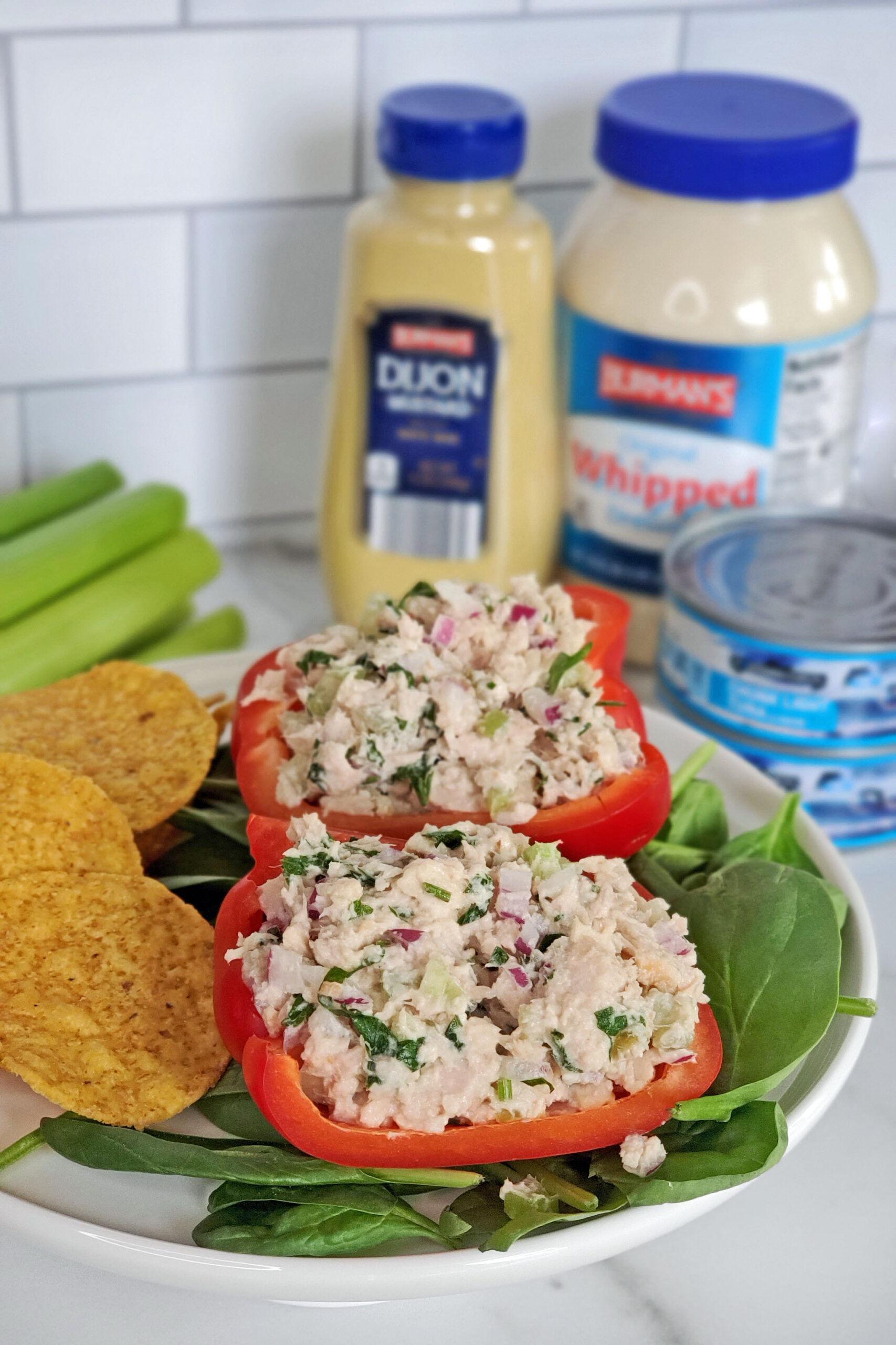 aldi tuna salad stuffed bell pepper boats burman's mayonaise and dijon mustard